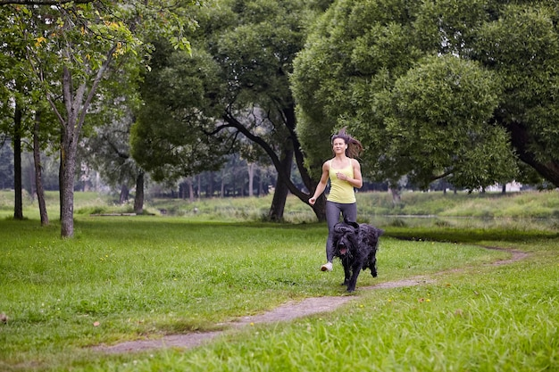 Briard en vrouwelijke eigenaar lopen overdag in openbaar park tijdens het wandelen.