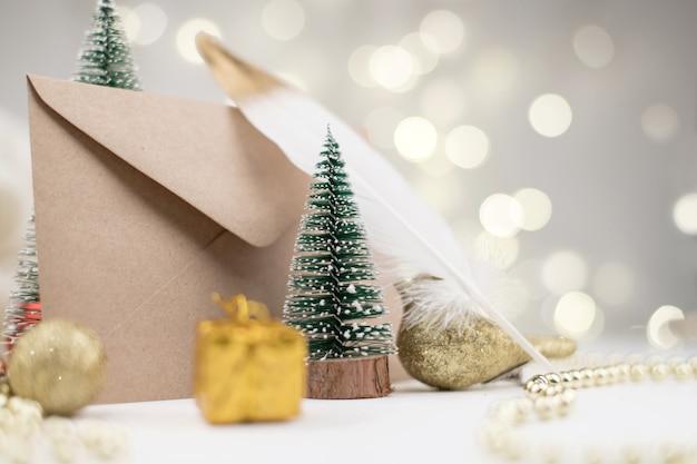 Brief envelop aan de kerstman kerstmis nieuwjaar 2021 decor bokeh