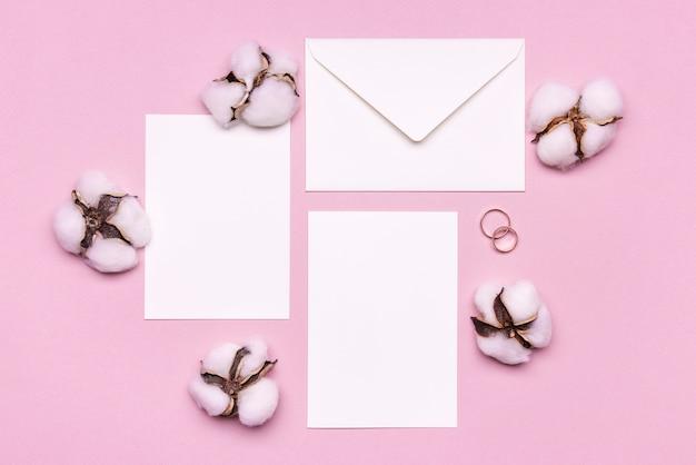 Briefpapier trouwkaarten met katoen