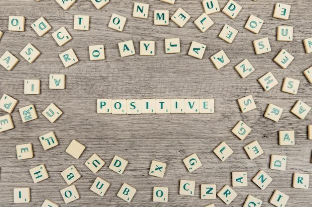 Brieven die het woord positief vormen