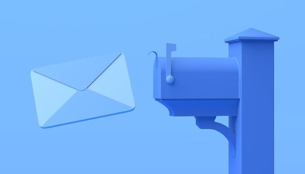Brievenbus voor brieven op blauwe achtergrond. 3d illustratie. ruimte kopiëren.