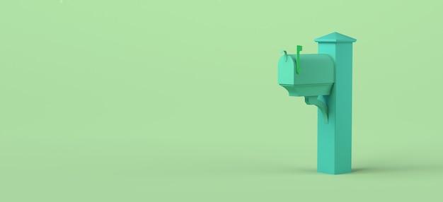 Brievenbus voor brieven op groene achtergrond. 3d illustratie. ruimte kopiëren.