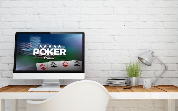 Briks studio met poker online op het computerscherm. 3d-weergave.