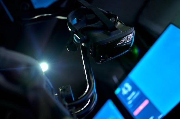 Bril van virtuele realiteit. vr-ruimte, games, entertainment, toekomstig technologieconcept.