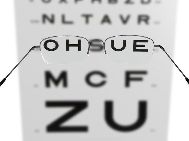 Bril voor zichtverbetering en lettertest