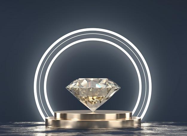 Briljante diamant geplaatst op gouden standaard met lichte en zwarte achtergrond, 3d-rendering.