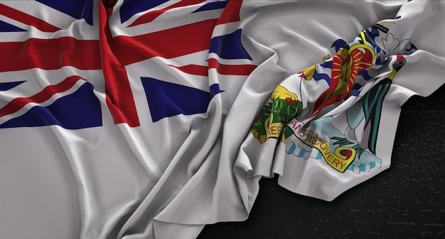 Britse antarctische territory vlag gerimpelde op donkere achtergrond 3d render
