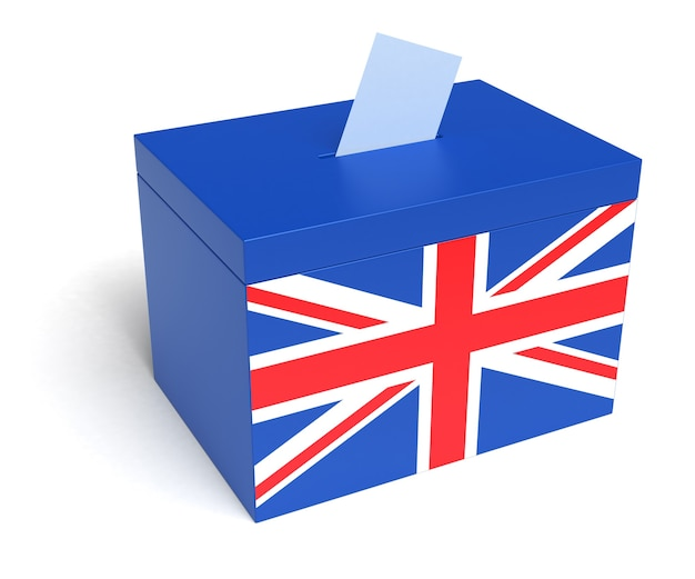 Britse stembus met britse vlag geïsoleerd op witte achtergrond