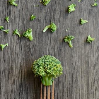 Broccoli op een vork
