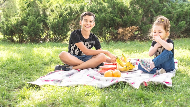 Broer en zus genieten van de picknick in het park