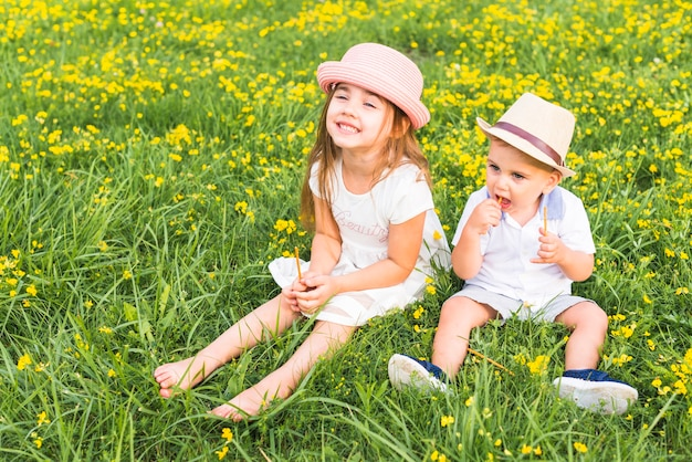 Broer holding stokken in handen zitten met haar zus in weide