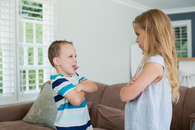 Broer plaagt zijn zus terwijl hij met gekruiste armen stond