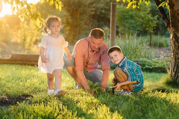 Broertje en zusje planten zaailingen met hun vader