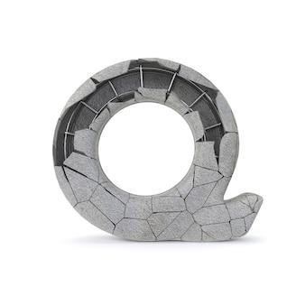 Broken concrete alphabet q