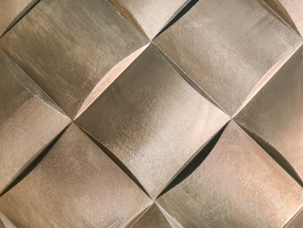 Bronzen 3d interieur decoratief wandpaneel met ongebruikelijke geometrische vorm,