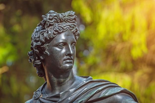 Bronzen mannenhoofd standbeeld van de godheid in het bos