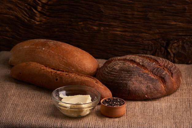 Brood en baguette concept voedsel van het voedzame huis dichte omhooggaand