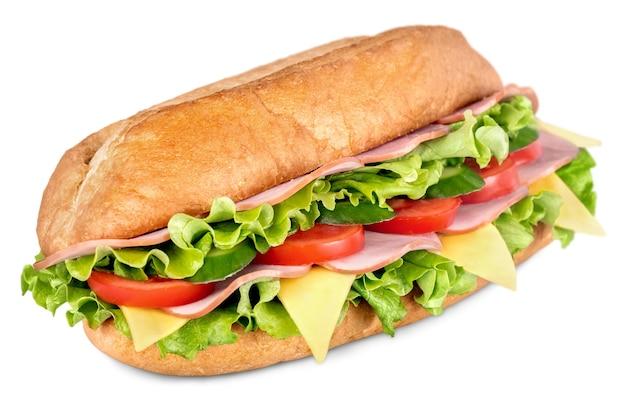 Broodje ham en kaas salade onderzeeër van vers gesneden stokbrood