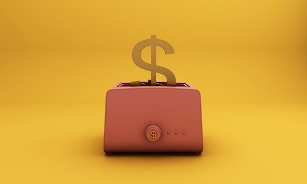 Broodrooster roze roosteren uit een gouden dollar, gele achtergrond. concept idee-3d render
