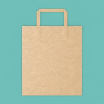 Brown craft paper bag mockup met lege ruimte voor uw ontwerp op een blauwe achtergrond. 3d-rendering