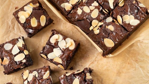 Brownies chocolade ingrediënt zoet dessert voor theetijd of koffietijd