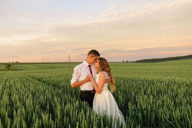 Bruid en bruidegom in een tarweveld. een paar is knuffelen tijdens zonsondergang.