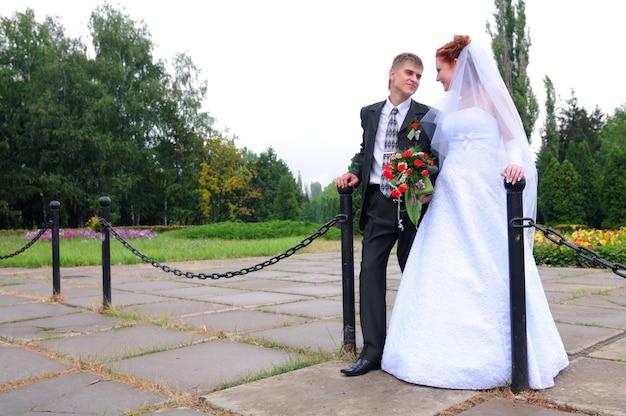 Bruid en bruidegom, nieuw familieportret