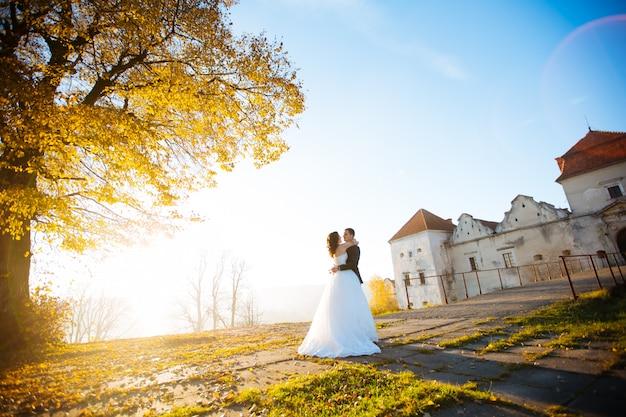 Bruid en bruidegomhuwelijksportretten in aard