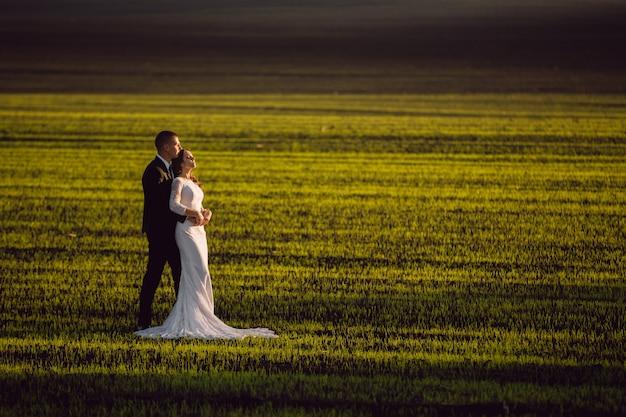 Bruid in de armen van de bruidegom in voorjaar velden en blauwe hemel