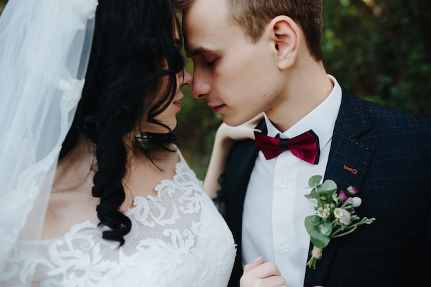 Bruidegom en bruid knuffelen die neus raken