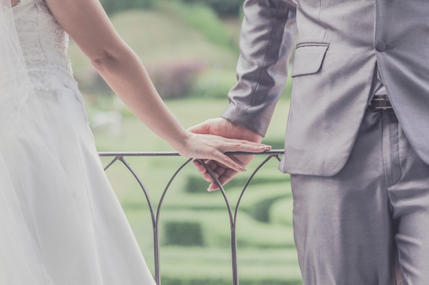 Bruidegom en bruid samen. trouwkoppel