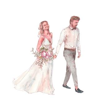 Bruidegom en gelukkige bruid met huwelijksboeket die samen waterverfillustratie lopen