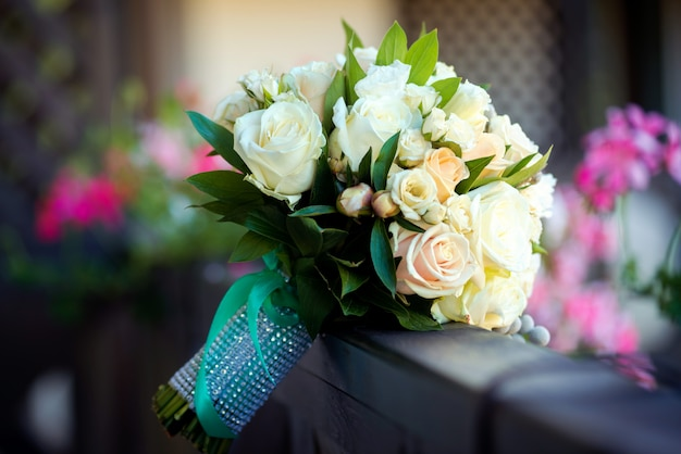 Bruidsboeket . het boeket van de bruid. bruiloft accessoires