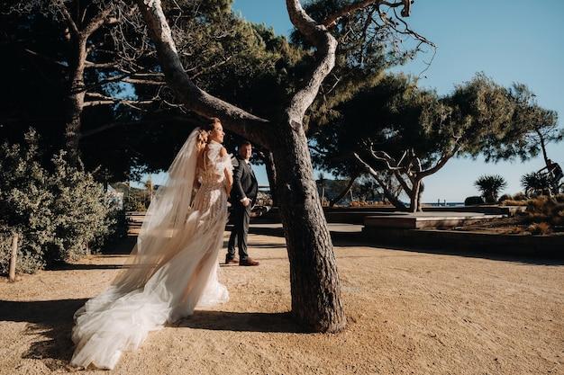 Bruidspaar aan de franse rivièra. huwelijk in de provence. bruid en bruidegom in frankrijk.