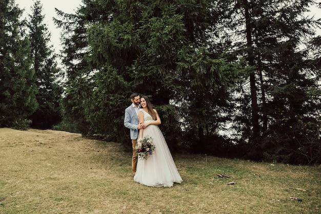 Bruidspaar verblijft over prachtig landschap in de bergen.