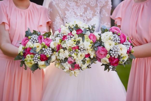 Bruiloft boeket close-up Premium Foto