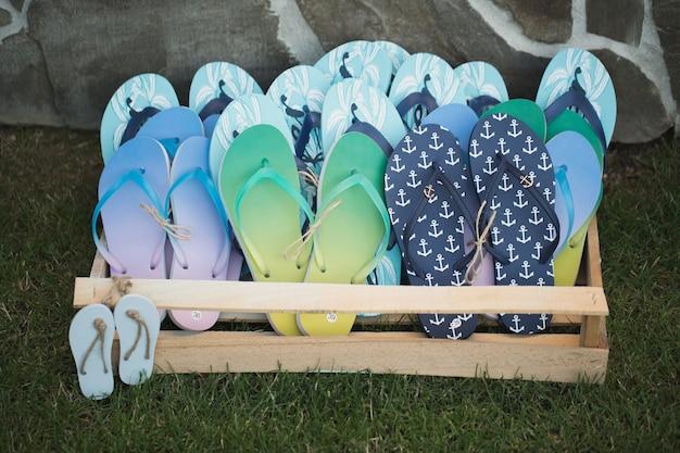 Bruiloft decor gemaakt van strand rubber leien.