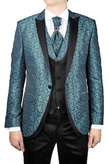 Bruiloft heren jas met turquoise bloemen versiering voor bruid, of prom, geïsoleerd op een witte achtergrond.