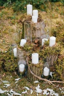 Bruiloft houten decoratieve elementen.