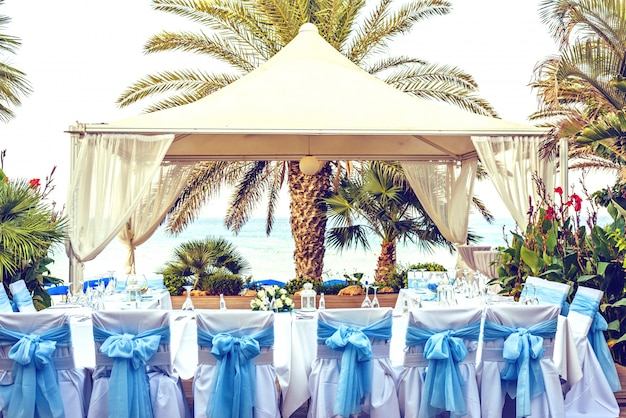 Bruiloft receptie tafel in cyprus