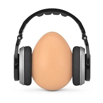 Bruin ei in koptelefoon op een witte achtergrond. 3d-rendering