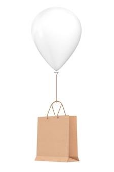 Bruin gerecycled papier boodschappentas drijvend met witte hellium ballon op een witte achtergrond. 3d-rendering