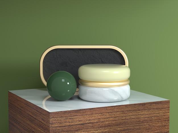 Bruin hout vierkant podium abstract geometrische vorm stilleven set 3d-rendering gouden curve frame