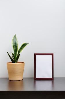 Bruin houten kadermodel in staande oriëntatie met een cactus in een pot op donkere werkruimtetafel en witte achtergrond