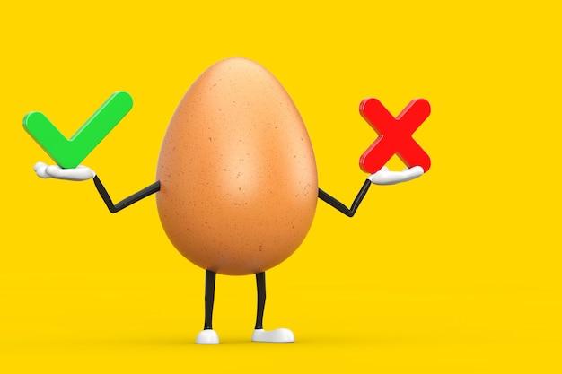 Bruin kippenei persoon karakter mascotte met rood kruis en groen vinkje, bevestigen of ontkennen, ja of nee pictogram teken op een gele achtergrond. 3d-rendering