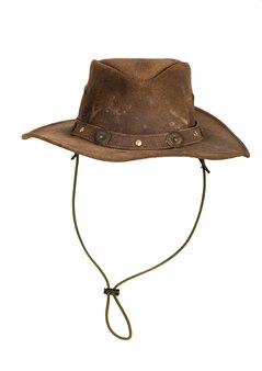 Bruin lederen hoed geïsoleerd op wit