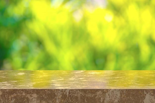 Bruin marmeren tafel met uitzicht op de natuur