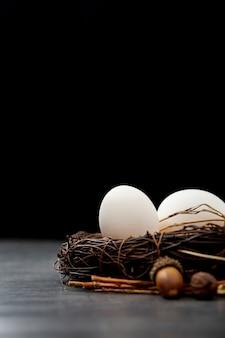 Bruin nest met witte eieren op een zwarte achtergrond