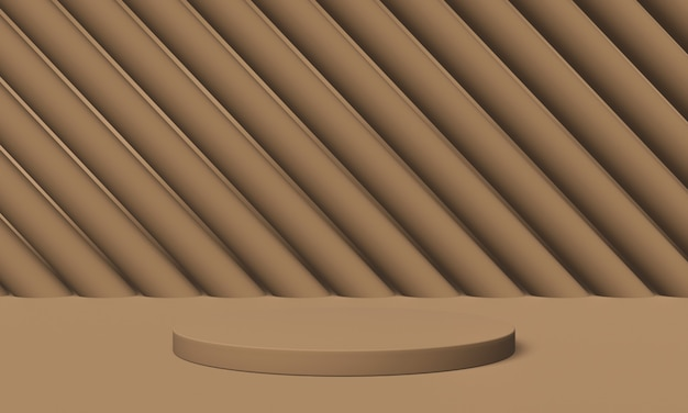 Bruin podium. geometrische productstandaard. 3d illustratie.