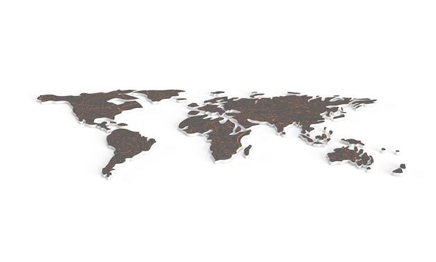 Bruine aarde. wereld landen kaart. 3d-kaart. horizontale wereldkaart.